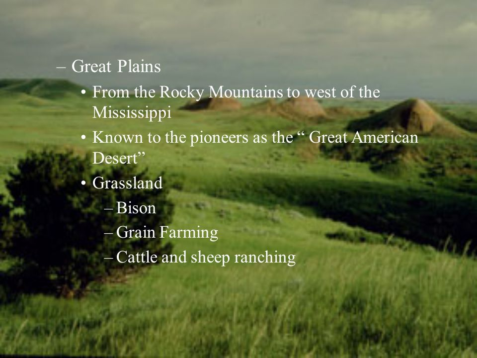 –Great Plains From the Rocky Mountains to west of the Mississippi Known to the pioneers as the Great American Desert Grassland –Bison –Grain Farming –Cattle and sheep ranching