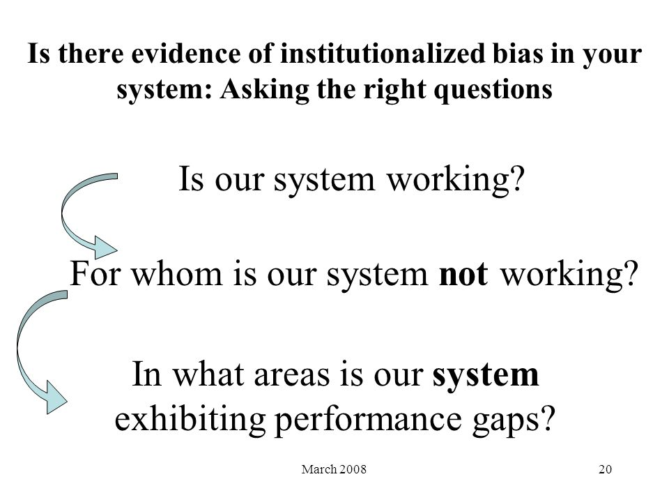 March 200820 Is there evidence of institutionalized bias in your system: Asking the right questions Is our system working.