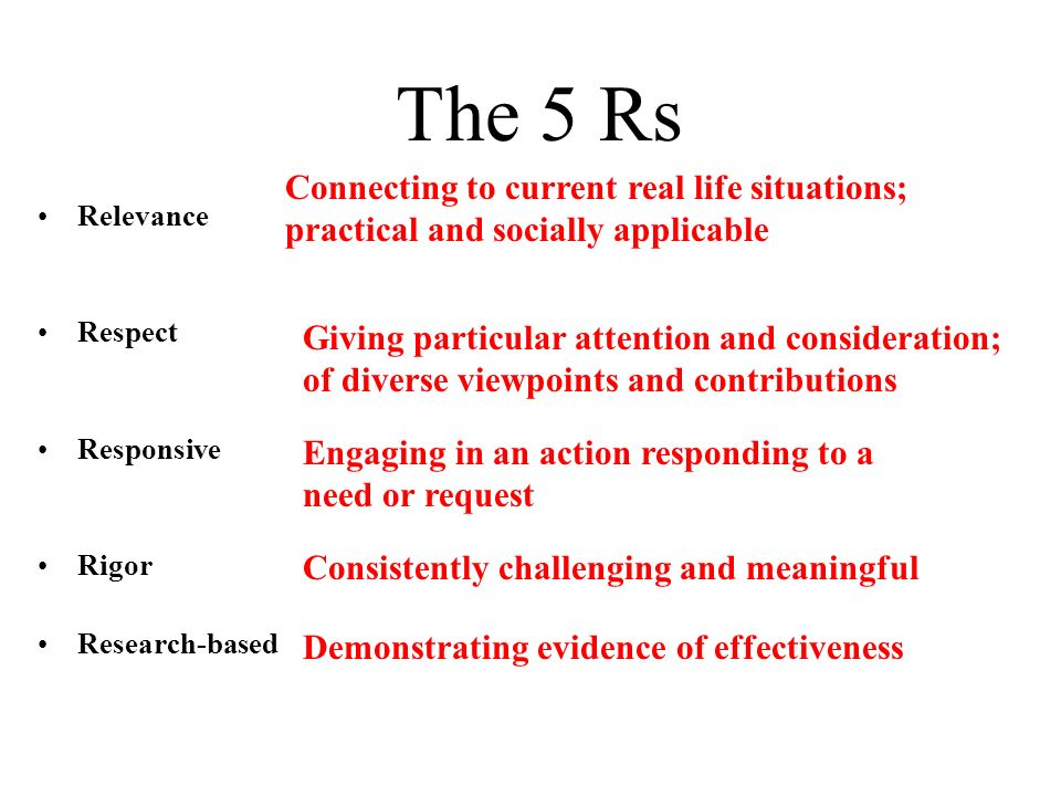 The 5 Rs Relevance Respect Responsive Rigor Research-based Connecting to current real life situations; practical and socially applicable Giving particular attention and consideration; of diverse viewpoints and contributions Engaging in an action responding to a need or request Consistently challenging and meaningful Demonstrating evidence of effectiveness