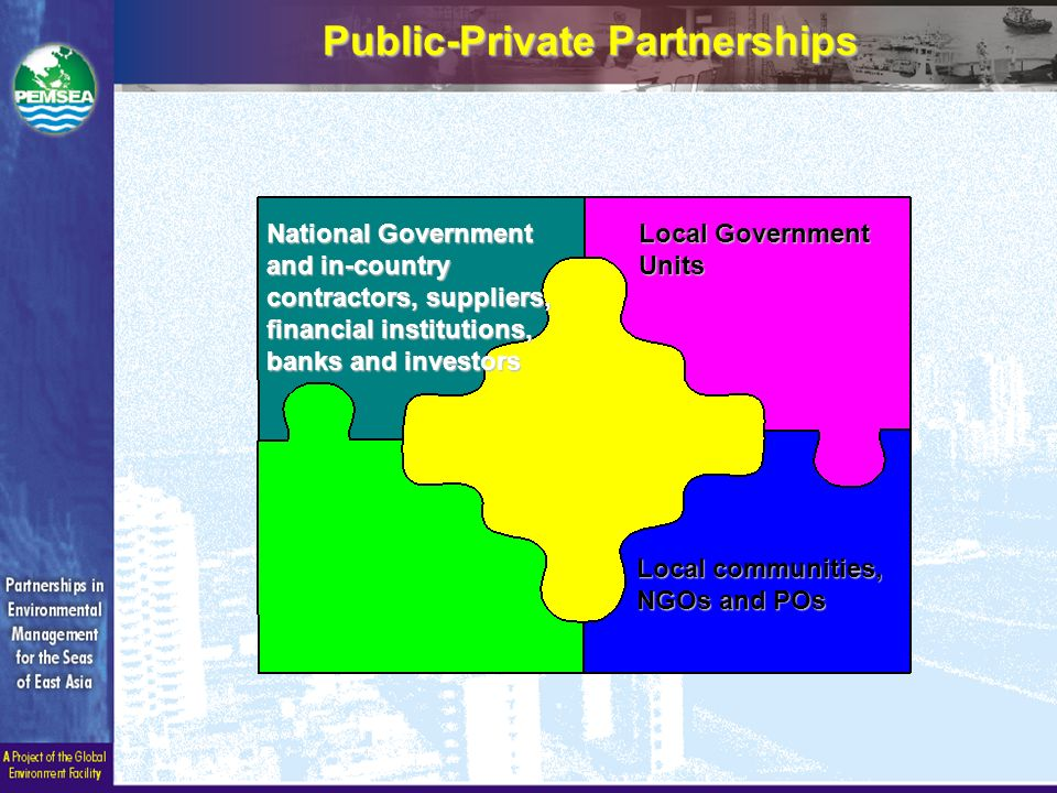 Public-Private Partnerships Local Government Units National Government and in-country contractors, suppliers, financial institutions, banks and investors Local communities, NGOs and POs