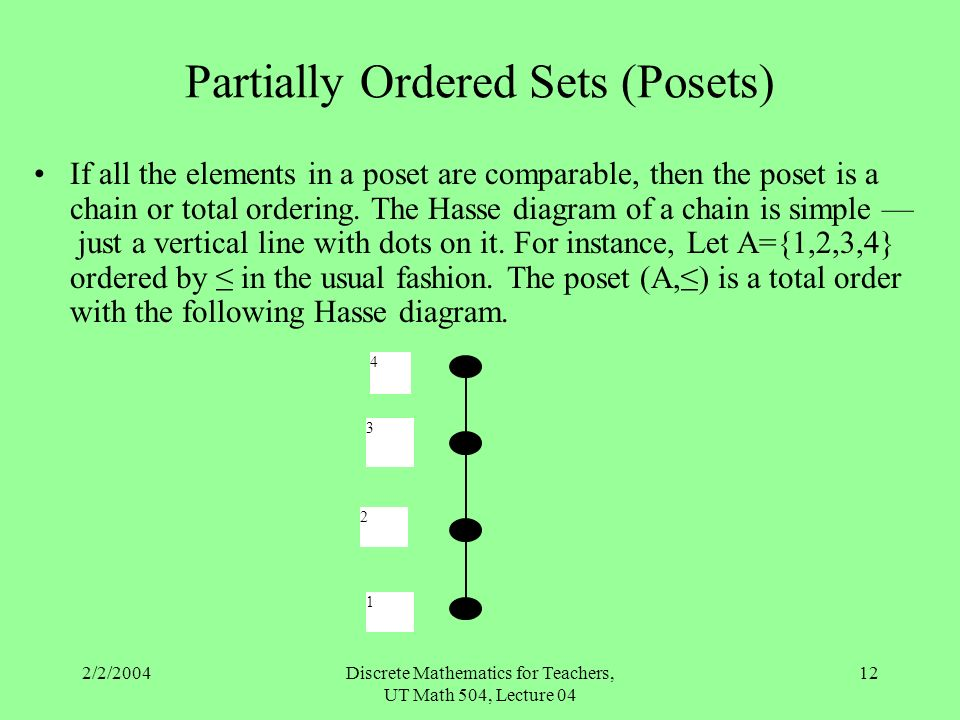 Posets equivalence relations and functions sections 26 ppt 04 12 partially ordered sets posets if all the elements in a poset are comparable then the poset is a chain or total ordering the hasse diagram ccuart Image collections