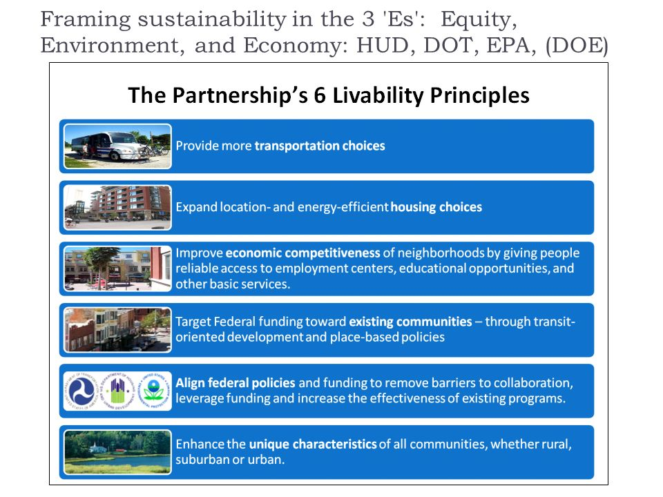 Framing sustainability in the 3 Es : Equity, Environment, and Economy: HUD, DOT, EPA, (DOE)