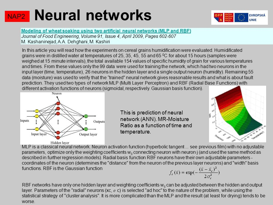 Neural networks NAP2 Modeling of wheat soaking using two artificial neural networks (MLP and RBF)Modeling of wheat soaking using two artificial neural networks (MLP and RBF) Journal of Food Engineering, Volume 91, Issue 4, April 2009, Pages M.