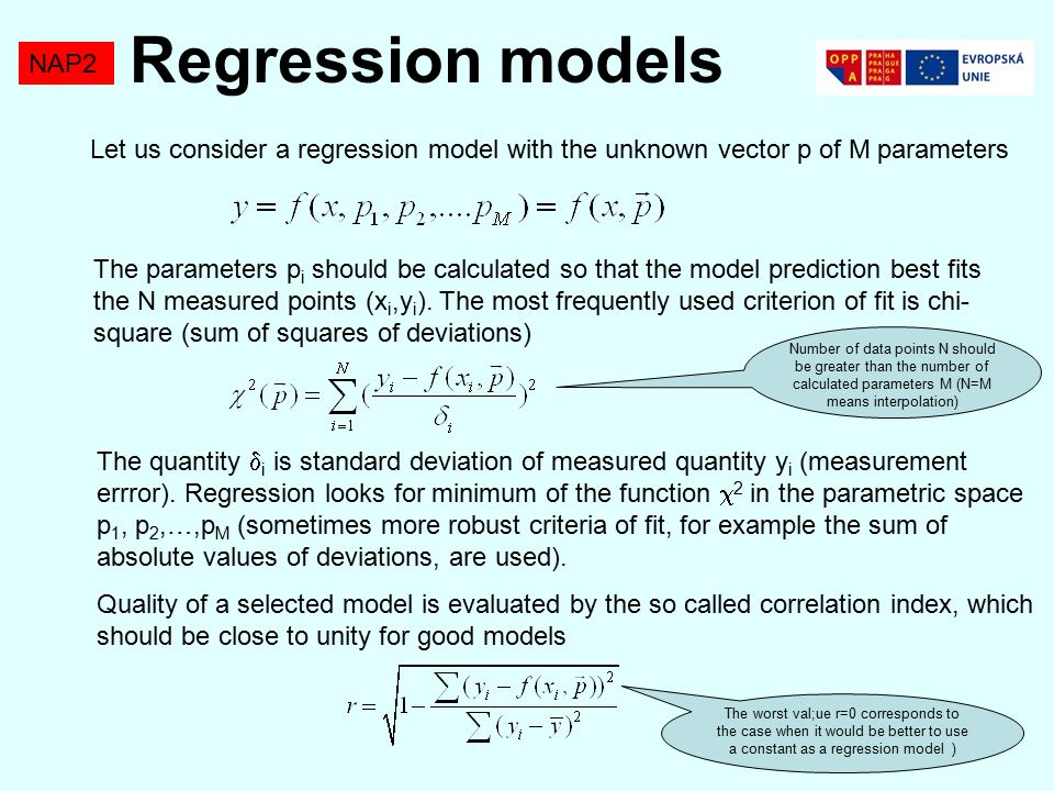 NAP2 Let us consider a regression model with the unknown vector p of M parameters The parameters p i should be calculated so that the model prediction best fits the N measured points (x i,y i ).