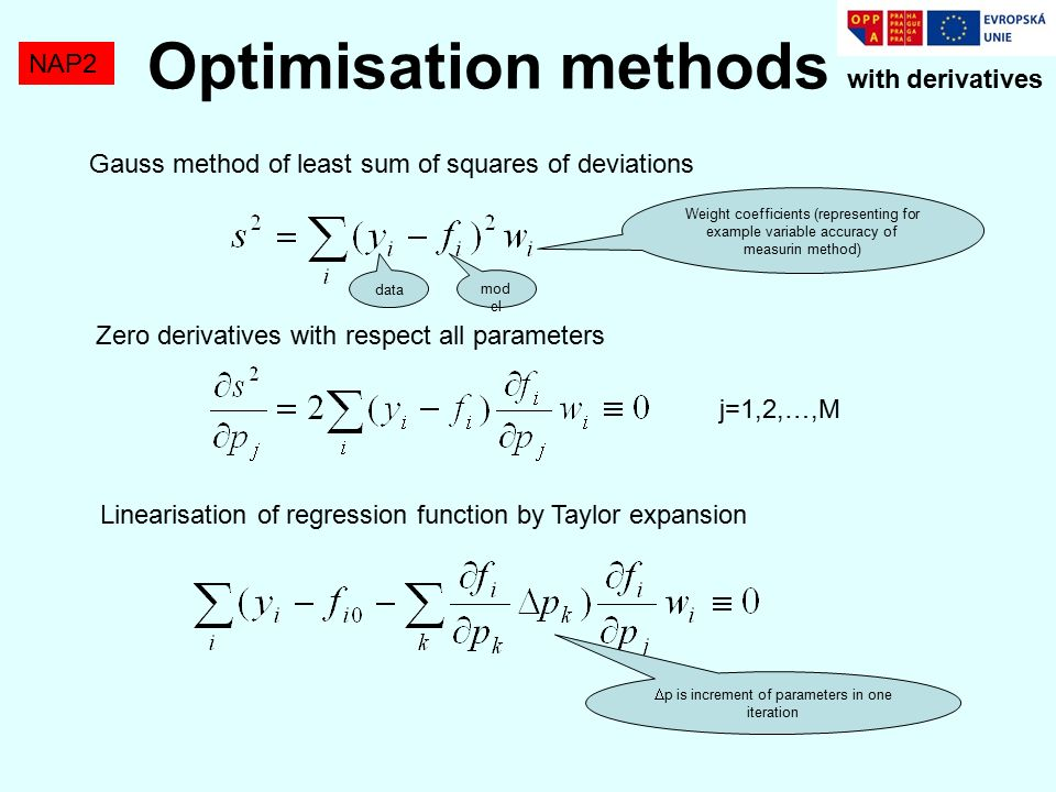 NAP2 Gauss method of least sum of squares of deviations Weight coefficients (representing for example variable accuracy of measurin method) Zero derivatives with respect all parameters j=1,2,…,M Linearisation of regression function by Taylor expansion  p is increment of parameters in one iteration data mod el Optimisation methods with derivatives