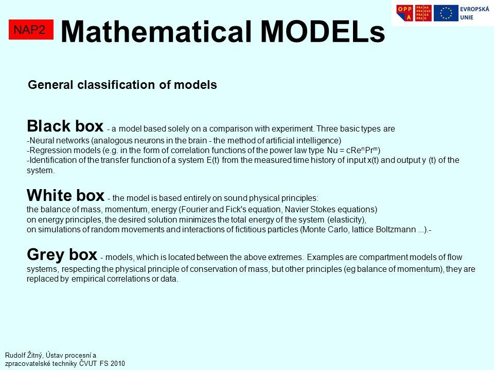 NAP2 Rudolf Žitný, Ústav procesní a zpracovatelské techniky ČVUT FS 2010 General classification of models Black box - a model based solely on a comparison with experiment.