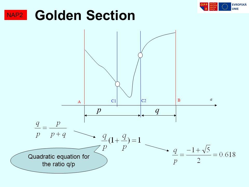 Golden Section NAP2 A B C1 C2 a p q Quadratic equation for the ratio q/p