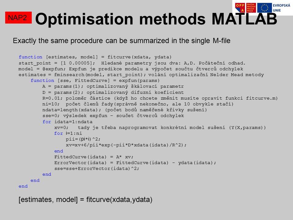 NAP2 function [estimates, model] = fitcurve(xdata, ydata) start_point = [1 0.00005]; Hledané parametry jsou dva: A,D.
