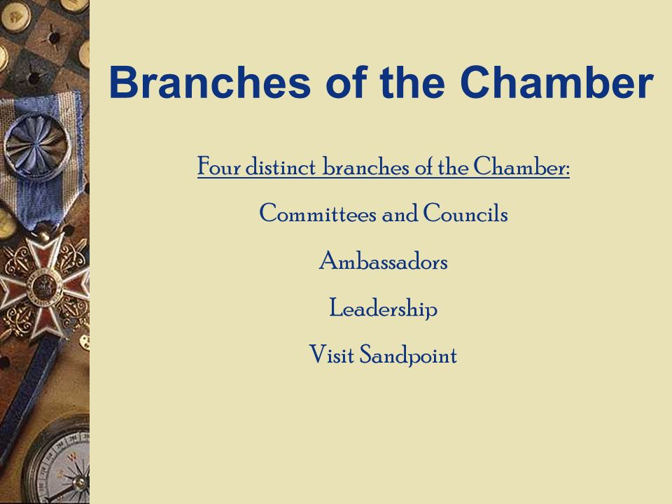 Four distinct branches of the Chamber: Committees and Councils Ambassadors Leadership Visit Sandpoint Branches of the Chamber
