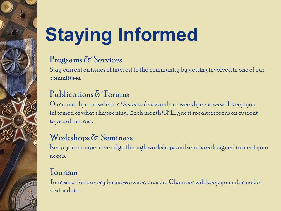 Programs & Services Stay current on issues of interest to the community by getting involved in one of our committees.