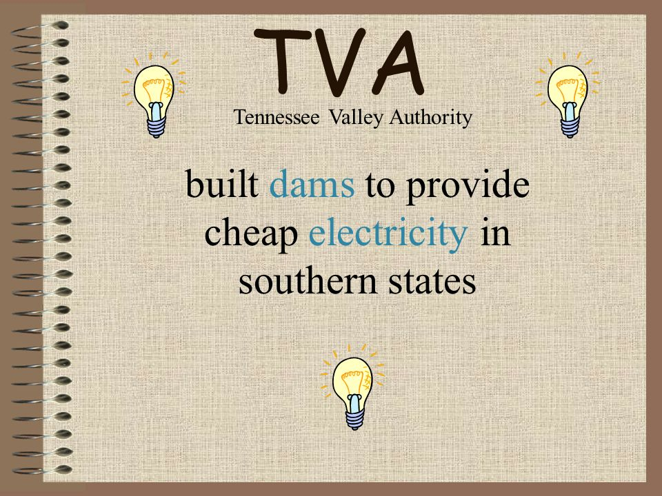 TVA built dams to provide cheap electricity in southern states Tennessee Valley Authority