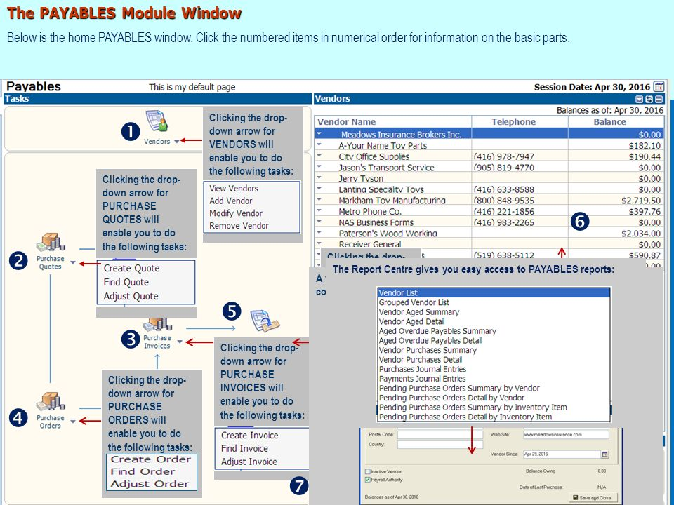 The PAYABLES Module Window Below is the home PAYABLES window.