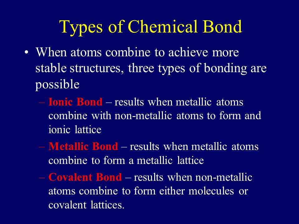 Types of Chemical Bond When atoms combine to achieve more stable ...