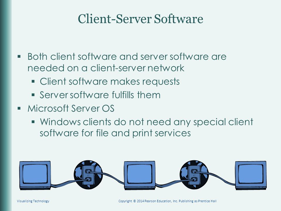 Client-Server Software  Both client software and server software are needed on a client-server network  Client software makes requests  Server software fulfills them  Microsoft Server OS  Windows clients do not need any special client software for file and print services Visualizing TechnologyCopyright © 2014 Pearson Education, Inc.