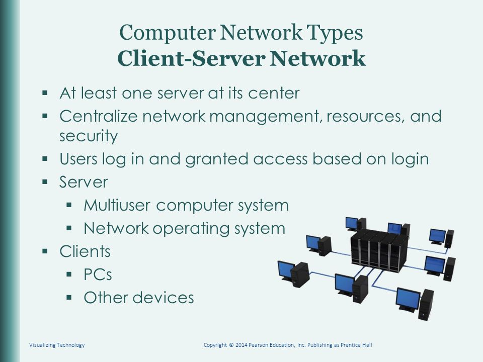 Computer Network Types Client-Server Network  At least one server at its center  Centralize network management, resources, and security  Users log in and granted access based on login  Server  Multiuser computer system  Network operating system  Clients  PCs  Other devices Visualizing TechnologyCopyright © 2014 Pearson Education, Inc.