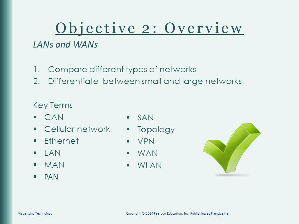 Objective 2: Overview LANs and WANs 1. Compare different types of networks 2.