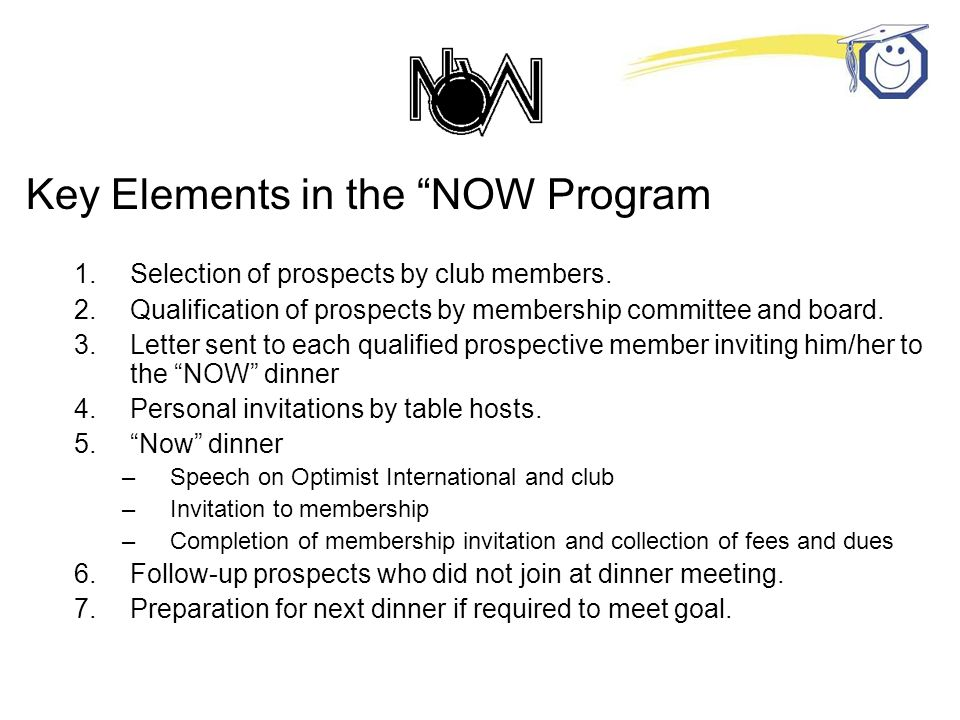 Key Elements in the NOW Program 1.Selection of prospects by club members.