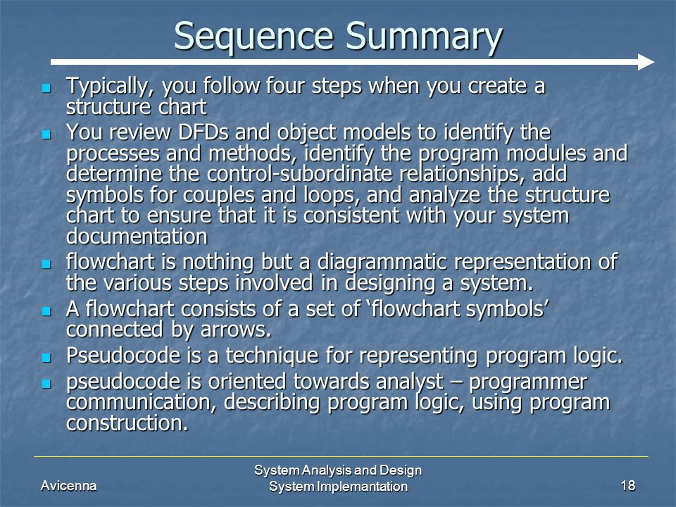 Avicenna System Analysis and Design System Implemantation18 Sequence Summary Typically, you follow four steps when you create a structure chart Typically, you follow four steps when you create a structure chart You review DFDs and object models to identify the processes and methods, identify the program modules and determine the control-subordinate relationships, add symbols for couples and loops, and analyze the structure chart to ensure that it is consistent with your system documentation You review DFDs and object models to identify the processes and methods, identify the program modules and determine the control-subordinate relationships, add symbols for couples and loops, and analyze the structure chart to ensure that it is consistent with your system documentation flowchart is nothing but a diagrammatic representation of the various steps involved in designing a system.