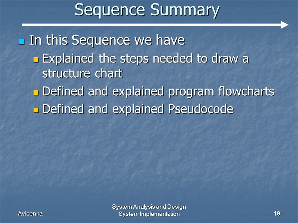 Avicenna System Analysis and Design System Implemantation19 Sequence Summary In this Sequence we have In this Sequence we have Explained the steps needed to draw a structure chart Explained the steps needed to draw a structure chart Defined and explained program flowcharts Defined and explained program flowcharts Defined and explained Pseudocode Defined and explained Pseudocode