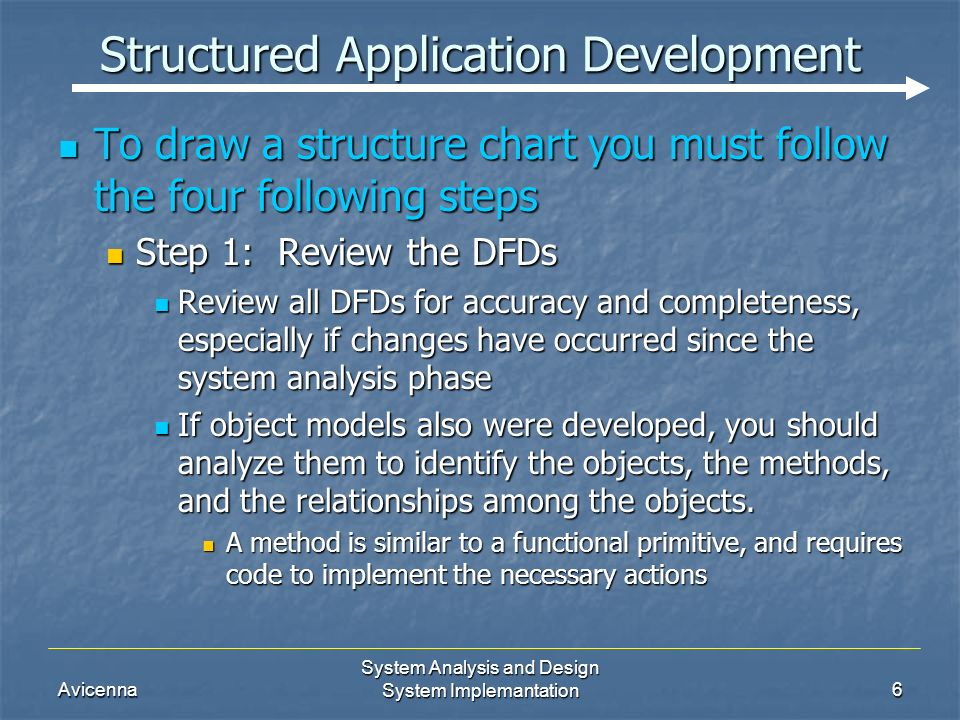 Avicenna System Analysis and Design System Implemantation6 Structured Application Development To draw a structure chart you must follow the four following steps To draw a structure chart you must follow the four following steps Step 1: Review the DFDs Step 1: Review the DFDs Review all DFDs for accuracy and completeness, especially if changes have occurred since the system analysis phase Review all DFDs for accuracy and completeness, especially if changes have occurred since the system analysis phase If object models also were developed, you should analyze them to identify the objects, the methods, and the relationships among the objects.