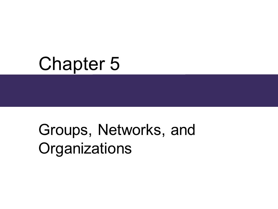 Chapter 5 Groups, Networks, and Organizations