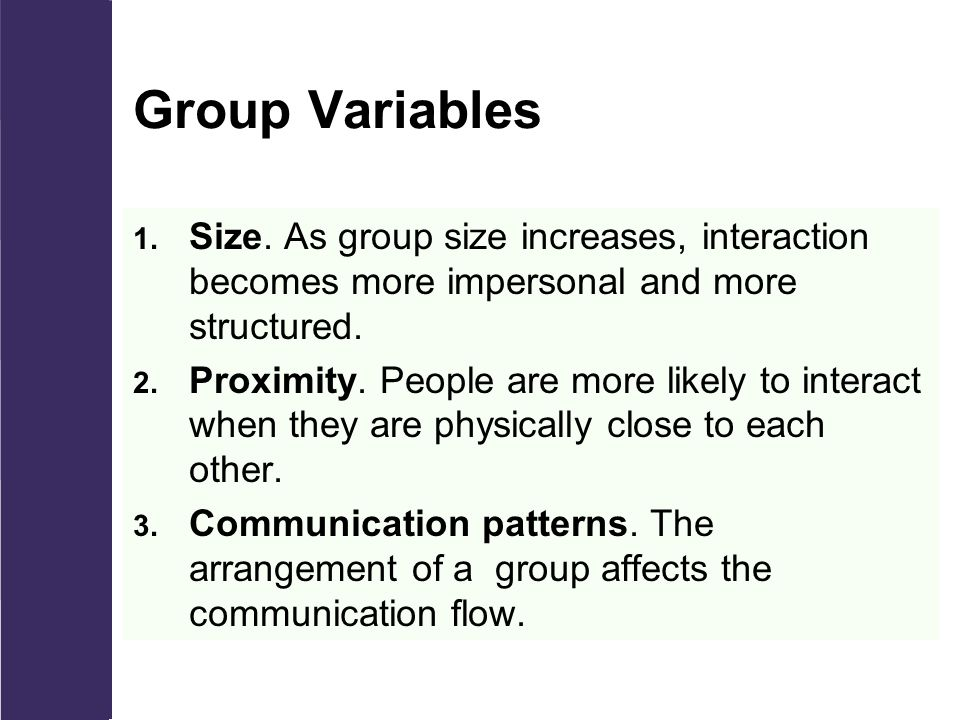 Group Variables 1. Size.