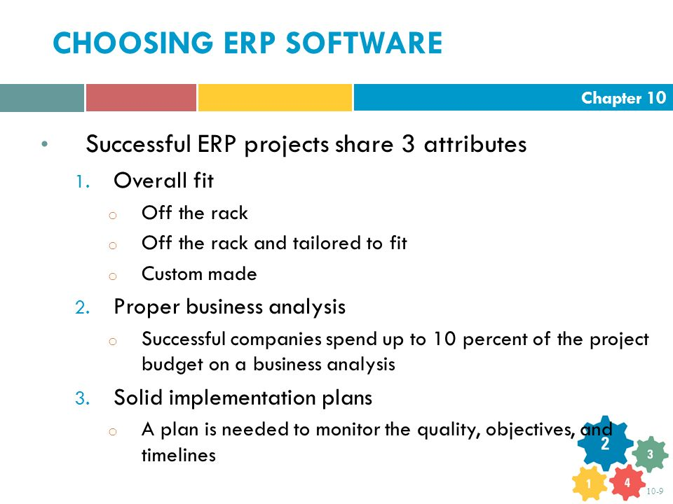 Chapter 10 10-9 CHOOSING ERP SOFTWARE Successful ERP projects share 3 attributes 1.