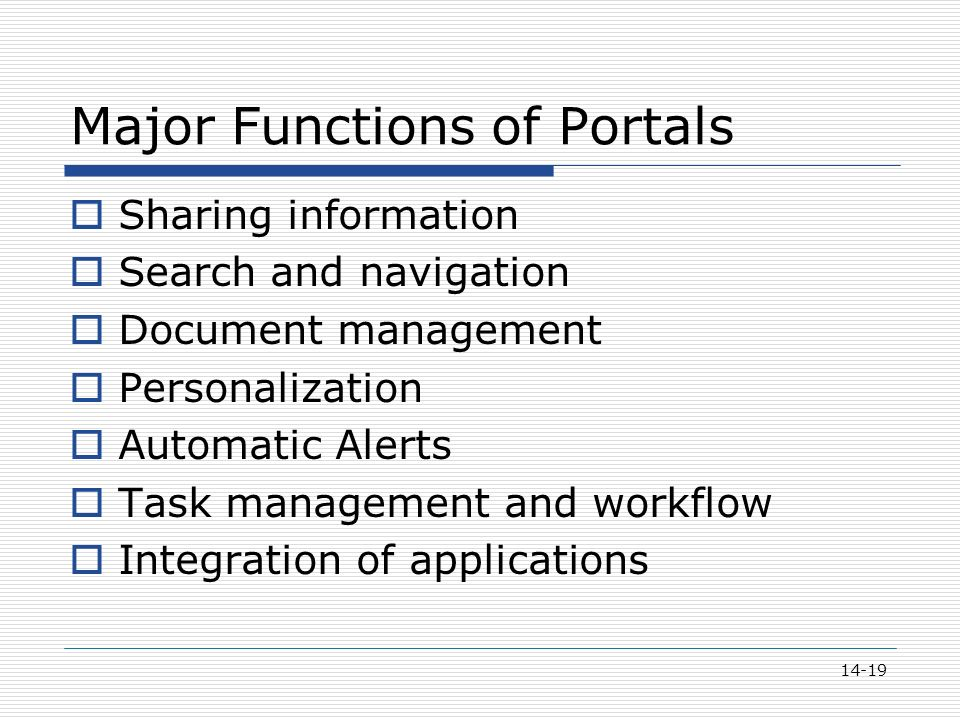 14-19 Major Functions of Portals  Sharing information  Search and navigation  Document management  Personalization  Automatic Alerts  Task management and workflow  Integration of applications