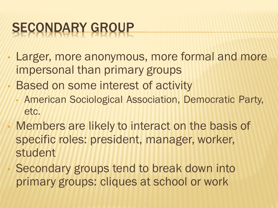 Larger, more anonymous, more formal and more impersonal than primary groups Based on some interest of activity American Sociological Association, Demo