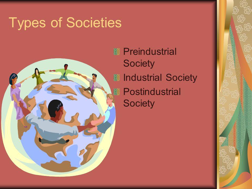 Types of Societies Preindustrial Society Industrial Society Postindustrial Society