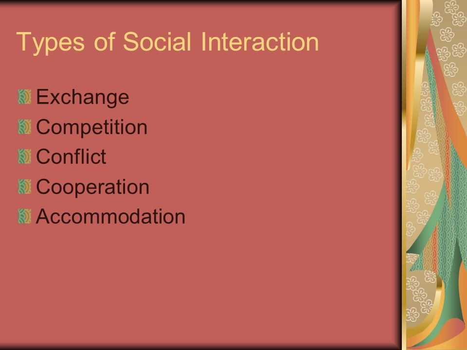 Types of Social Interaction Exchange Competition Conflict Cooperation Accommodation