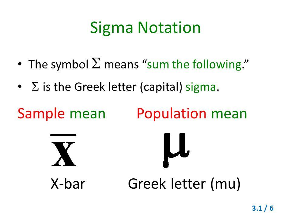 Sample Mean Symbol