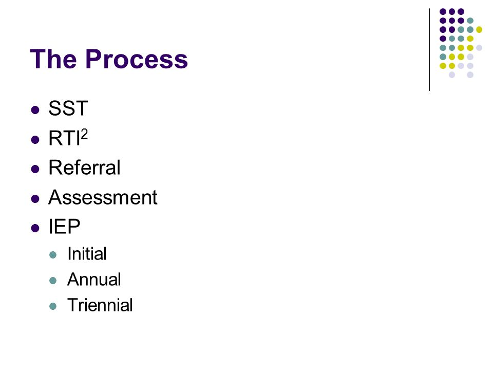 The Process SST RTI 2 Referral Assessment IEP Initial Annual Triennial