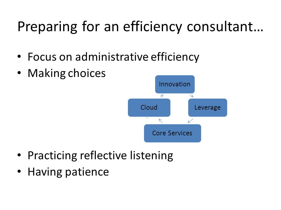 Preparing for an efficiency consultant… Focus on administrative efficiency Making choices Practicing reflective listening Having patience InnovationLeverageCore ServicesCloud
