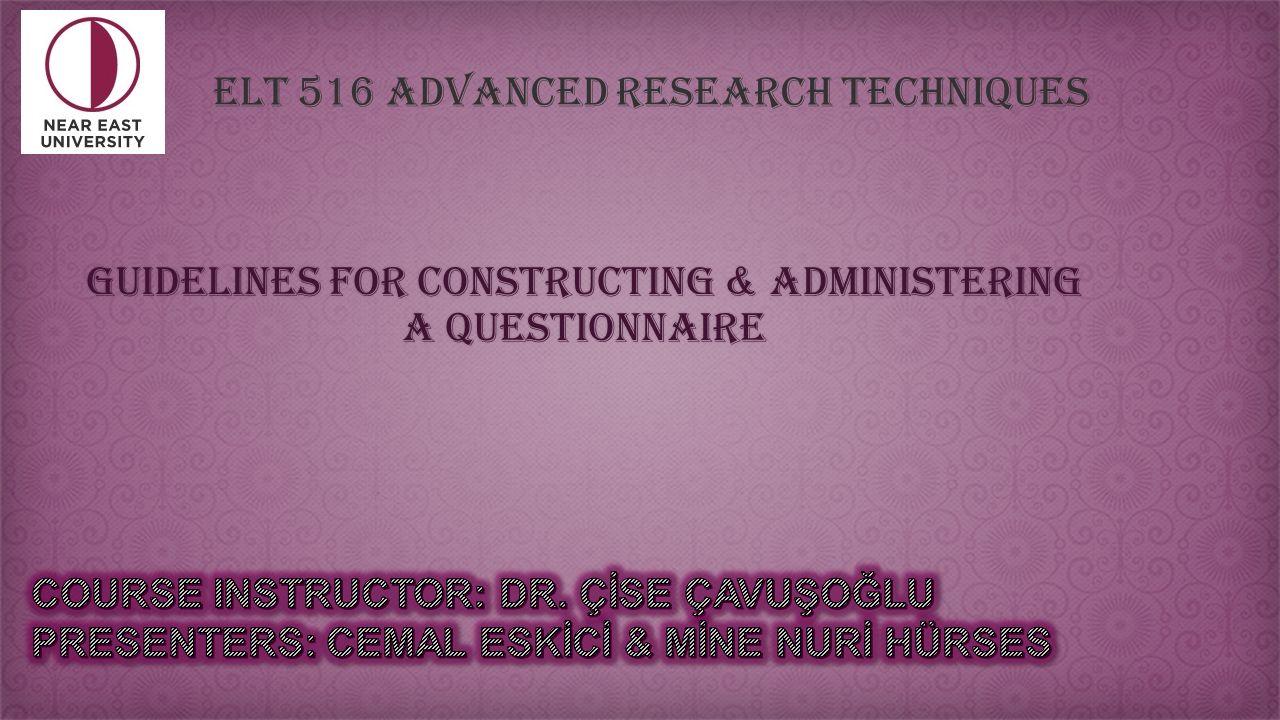 Constructing Questionnaire Dissertation