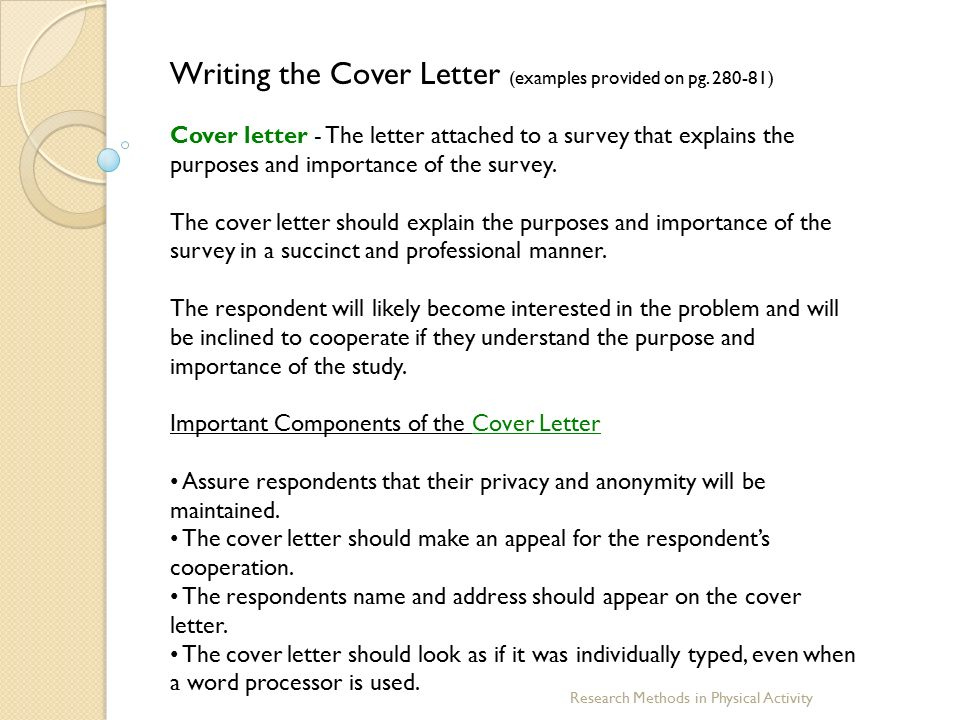 Cover Letters For Dissertation Questionnaires