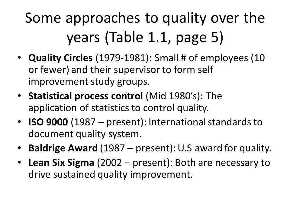 Some approaches to quality over the years (Table 1.1, page 5) Quality Circles (1979-1981): Small # of employees (10 or fewer) and their supervisor to