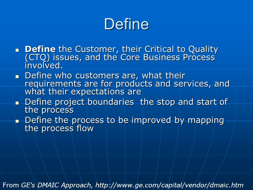 Define Define the Customer, their Critical to Quality (CTQ) issues, and the Core Business Process involved.