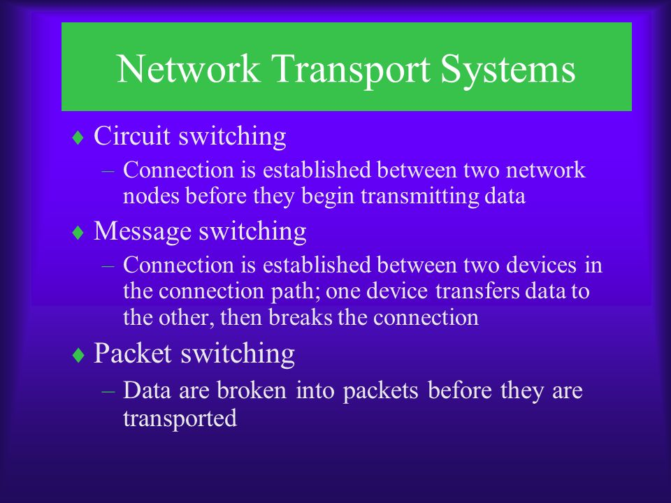 Network Transport Systems  Circuit switching –Connection is established between two network nodes before they begin transmitting data  Message switching –Connection is established between two devices in the connection path; one device transfers data to the other, then breaks the connection  Packet switching –Data are broken into packets before they are transported