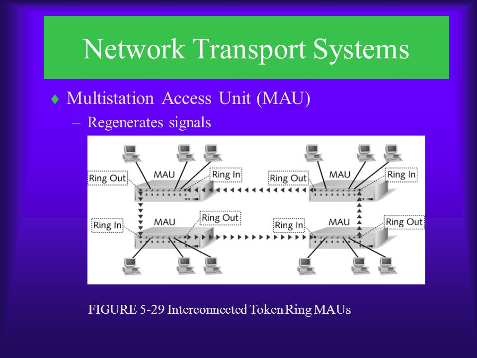 Network Transport Systems  Multistation Access Unit (MAU) –Regenerates signals FIGURE 5-29 Interconnected Token Ring MAUs