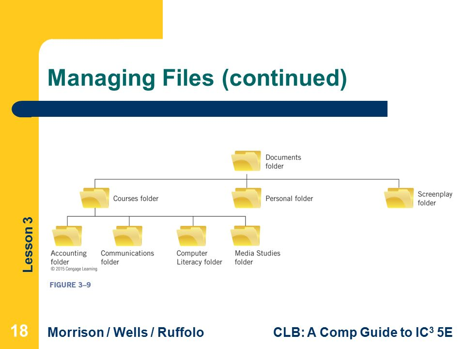 Lesson 3 Morrison / Wells / RuffoloCLB: A Comp Guide to IC 3 5E Managing Files (continued) 18