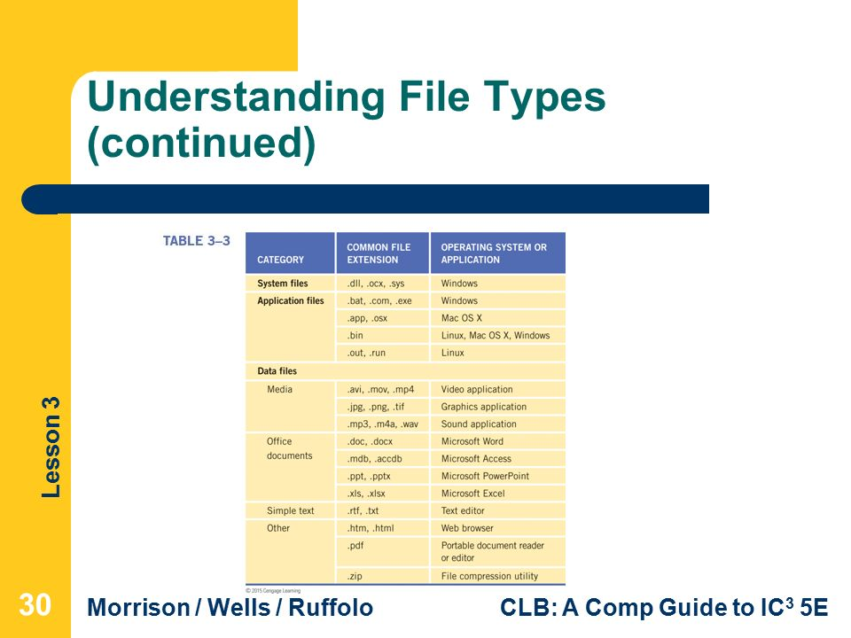 Lesson 3 Morrison / Wells / RuffoloCLB: A Comp Guide to IC 3 5E Understanding File Types (continued) 30