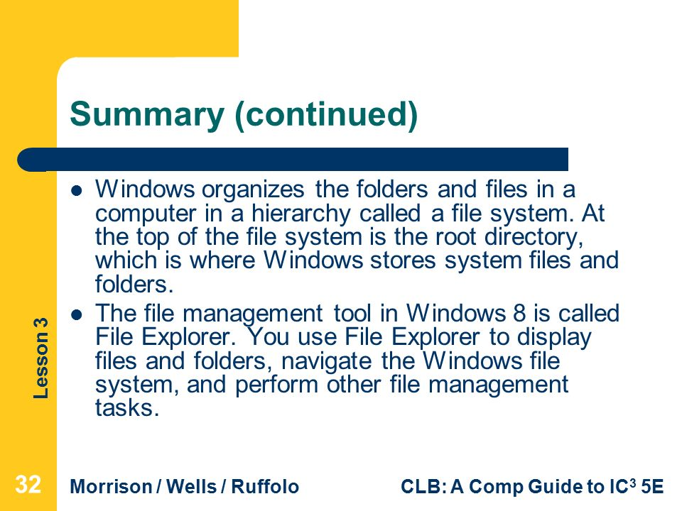 Lesson 3 Morrison / Wells / RuffoloCLB: A Comp Guide to IC 3 5E Summary (continued) Windows organizes the folders and files in a computer in a hierarchy called a file system.