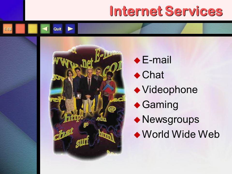 Quit 1.17 Going Online  Internet (the Net)  Internet Service Provider (ISP)  Information Service (like AOL)  Modems  Online/Offline  Download/Upload  MP3/MP4 players