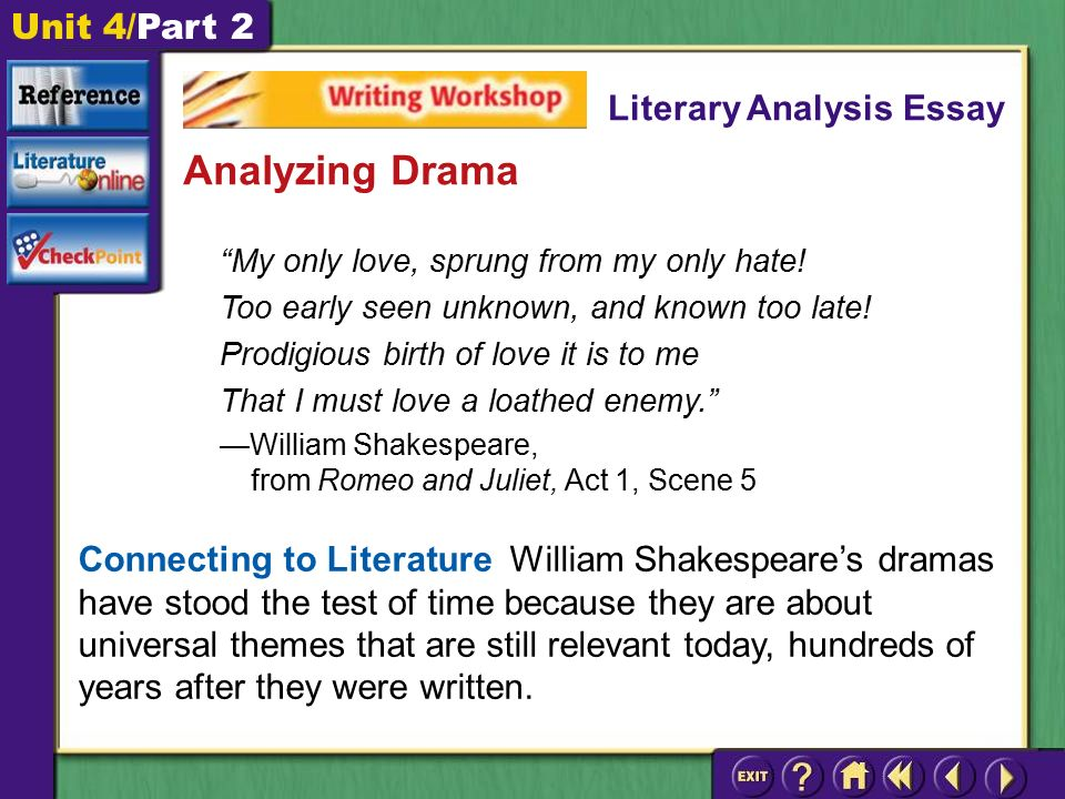 "writing workshop unit part ""my only love sprung from my only  unit 4 part 2 my only love sprung from my only hate"