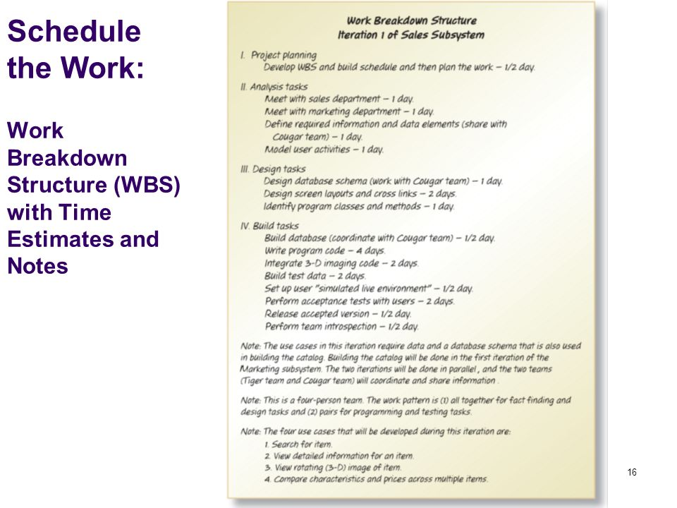 16 Schedule the Work: Work Breakdown Structure (WBS) with Time Estimates and Notes