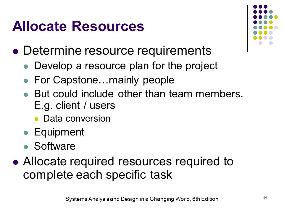 Systems Analysis and Design in a Changing World, 6th Edition 19 Allocate Resources Determine resource requirements Develop a resource plan for the project For Capstone…mainly people But could include other than team members.