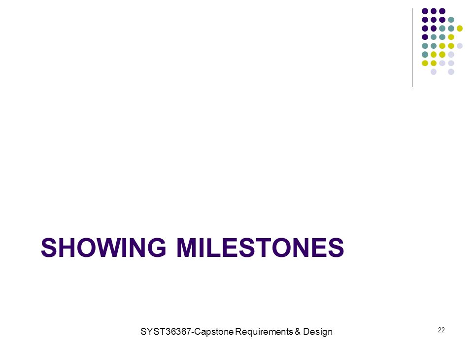 SHOWING MILESTONES SYST36367-Capstone Requirements & Design 22