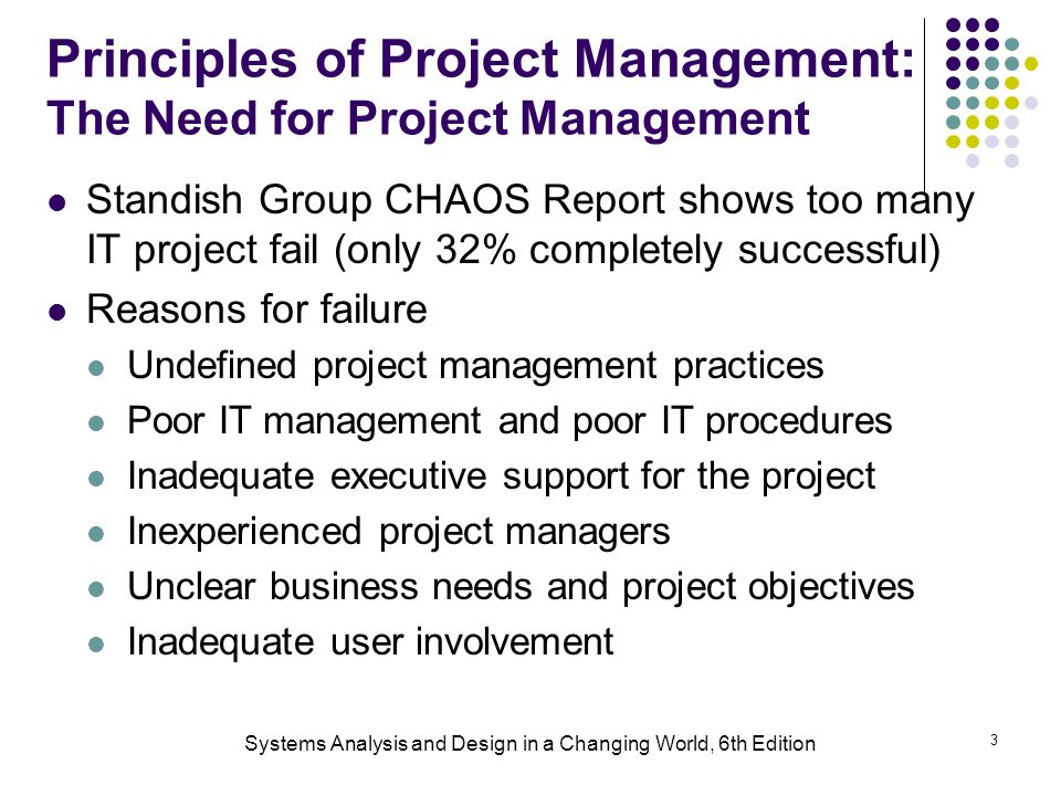 3 Principles of Project Management: The Need for Project Management Standish Group CHAOS Report shows too many IT project fail (only 32% completely successful) Reasons for failure Undefined project management practices Poor IT management and poor IT procedures Inadequate executive support for the project Inexperienced project managers Unclear business needs and project objectives Inadequate user involvement