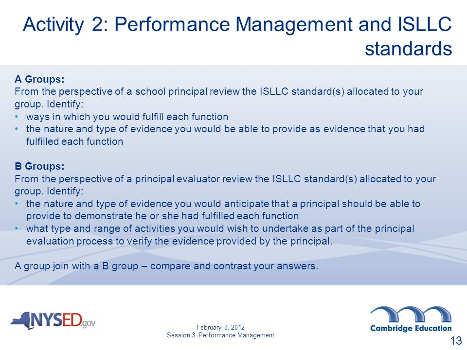 Activity 2: Performance Management and ISLLC standards A Groups: From the perspective of a school principal review the ISLLC standard(s) allocated to your group.